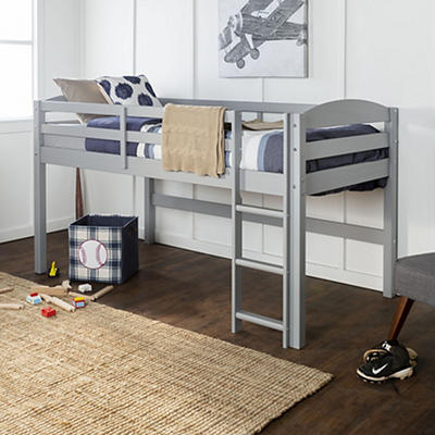 W. Trends Twin Solid Wood Low Loft Bed - Gray