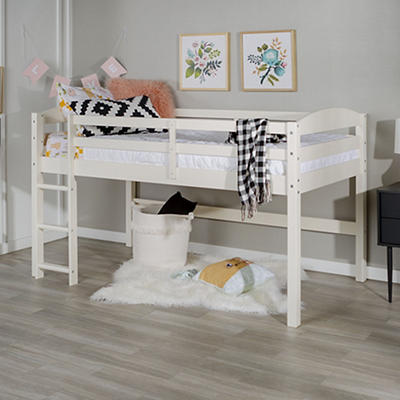 W. Trends Twin Solid Wood Low Loft Bed - White