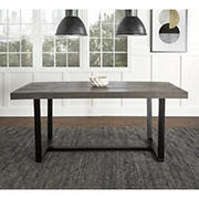 "W. Trends Farmhouse 72"" Solid Wood Kitchen Dining Table - Gray"