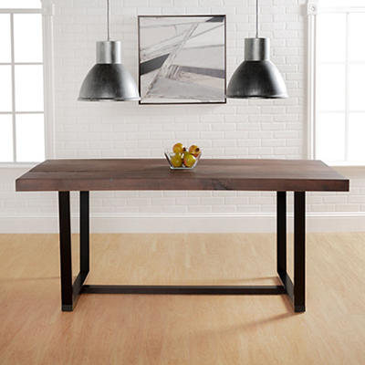 "W. Trends Farmhouse 72"" Solid Wood Kitchen Dining Table - Mahogany"