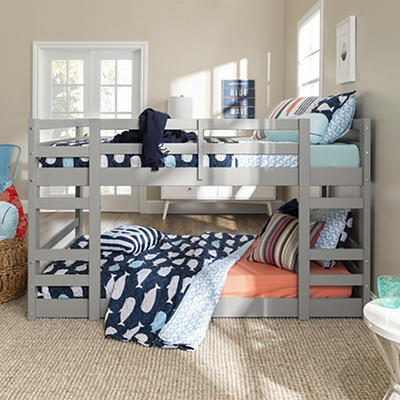 W. Trends Twin Solid Wood Bunk Bed - Gray