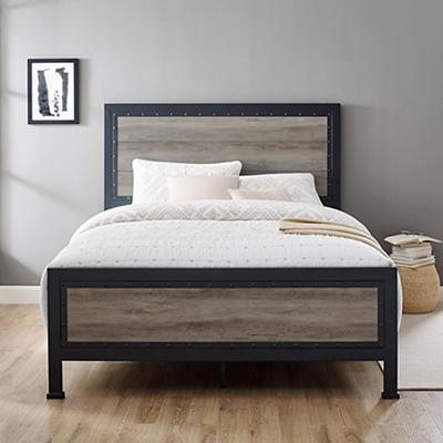 W. Trends Industrial Queen Bed Frame - Gray Wash