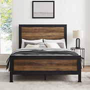 W. Trends Industrial Queen Bed Frame - Rustic Oak