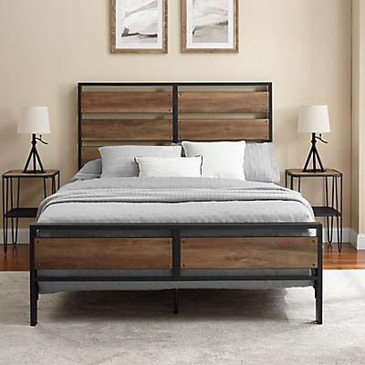 W. Trends Industrial Queen Bed Frame - Rustic Oak