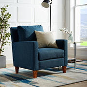 W. Trends Linen Upholstered Accent Chair - Blue