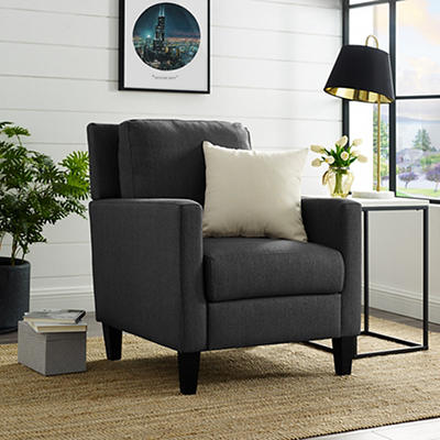 W. Trends Linen Upholstered Accent Chair - Charcoal