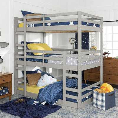 W. Trends Triple Solid Wood Bunk Bed - Gray