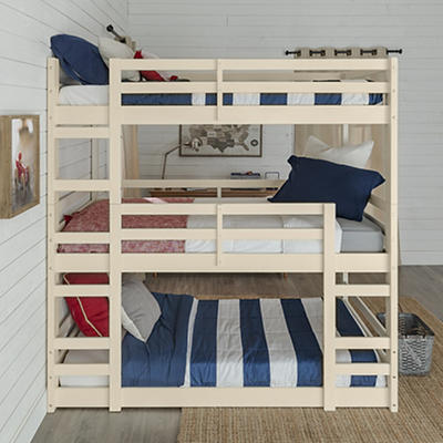 W. Trends Triple Solid Wood Bunk Bed - White