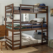 W. Trends Triple Solid Wood Bunk Bed - Walnut