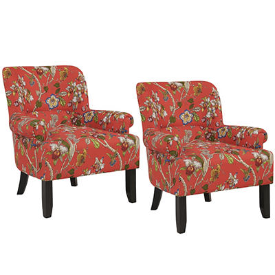 Handy Living Craig Performance Rolled Arm Chairs, 2 pk. - Crimson with