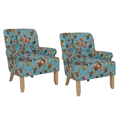 Handy Living Craig Performance Rolled Arm Chairs, 2 pk. - Sky Blue wit
