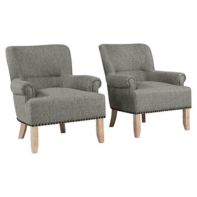 Handy Living Craig Performance Rolled Arm Chairs, 2 pk. - Gray