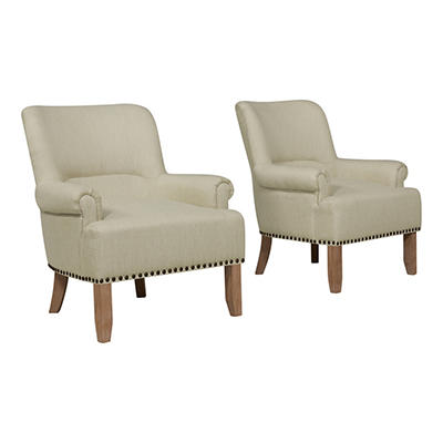 Handy Living Craig Performance Rolled Arm Chairs, 2 pk. - Tan