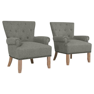 Handy Living Chauncey Button Performance Tufted Arm Chair, 2 pk. - Gra