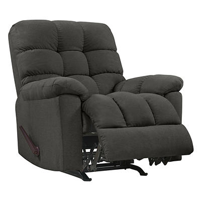 ProLounger Rocker Plush Low-Pile Velvet Reclining Chair - Charcoal Gra