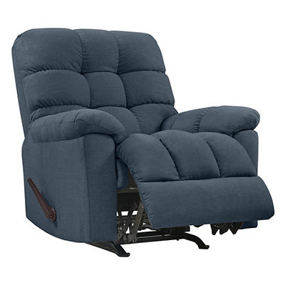 ProLounger Rocker Plush Low-Pile Velvet Reclining Chair - Caribbean Bl