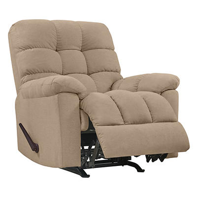 ProLounger Rocker Plush Low-Pile Velvet Reclining Chair - Barley Tan