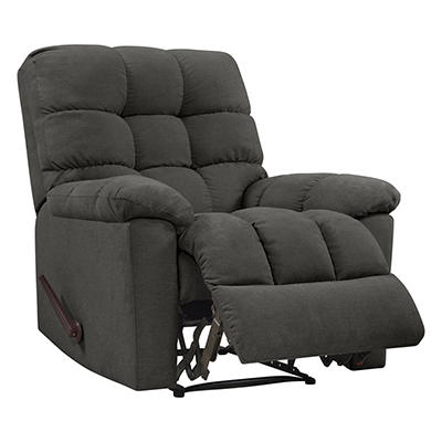 ProLounger Wall Hugger Plush Low-Pile Velvet Reclining Chair - Charcoa