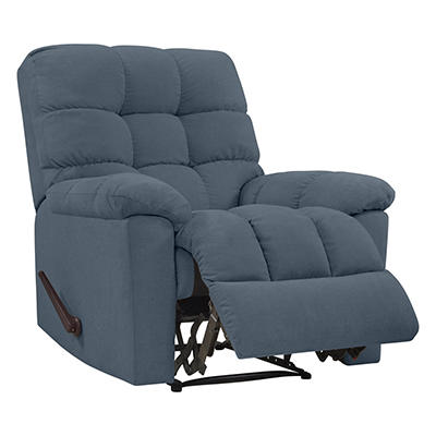 ProLounger Wall Hugger Plush Low-Pile Velvet Reclining Chair - Caribbe