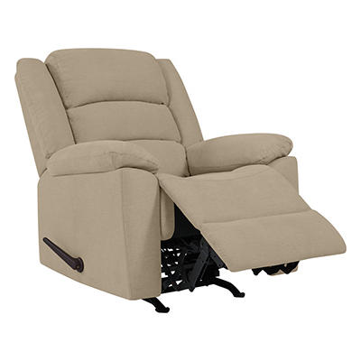 ProLounger Rocker Plush Low-Pile Velvet Recliner - Barley Tan