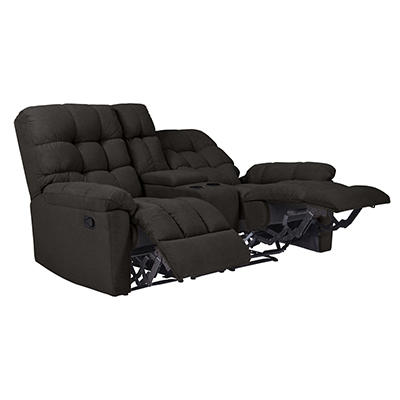 ProLounger Tufted Plush Low-Pile Velvet Recliner Loveseat with Power S
