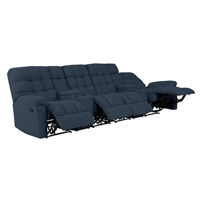 ProLounger Tufted Plush Low-Pile Velvet Recliner Sofa with 2 Power Sto