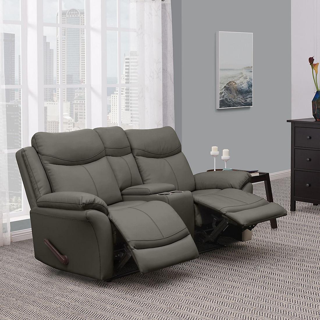 Brilliant Prolounger Wall Hugger Recliner Loveseat With Console 2 Short Links Chair Design For Home Short Linksinfo