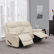Prolounger Wall Hugger Recliner Loveseat with Console, 2 Seats - White