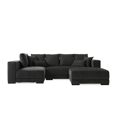 Handy Living Harmony Chenille Sectional, 3 pc. - Charcoal Gray