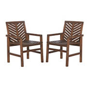 W. Trends Outdoor Finn Acacia Wood Dining Chairs - Dark Brown