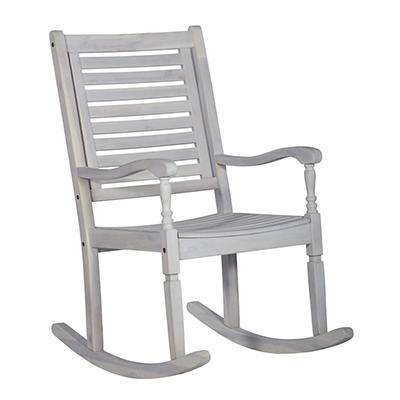 W. Trends Outdoor Acacia Wood Rocking Chair - White