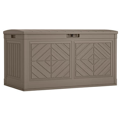Suncast 80 Gal. Baywood Large Resin Deck Box - Dark Taupe