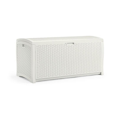 Suncast 99 Gal. Resin Wicker Deck Box - White