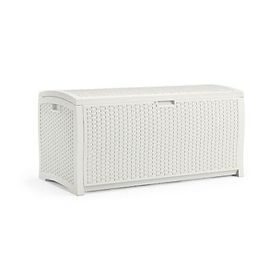 Suncast 99 Gal. Resin Wicker Deck Box - White