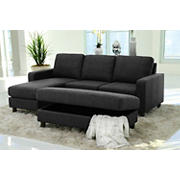 Abbyson Living Elaina Reversible Sectional and Ottoman - Charcoal Gray