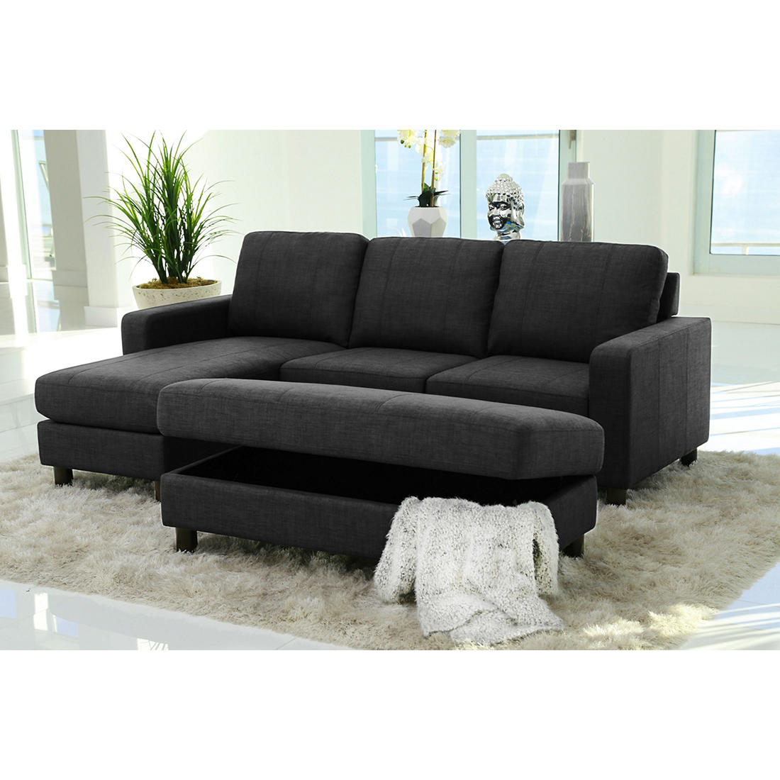 Peachy Abbyson Living Elaina Reversible Sectional And Ottoman Charcoal Gray Caraccident5 Cool Chair Designs And Ideas Caraccident5Info