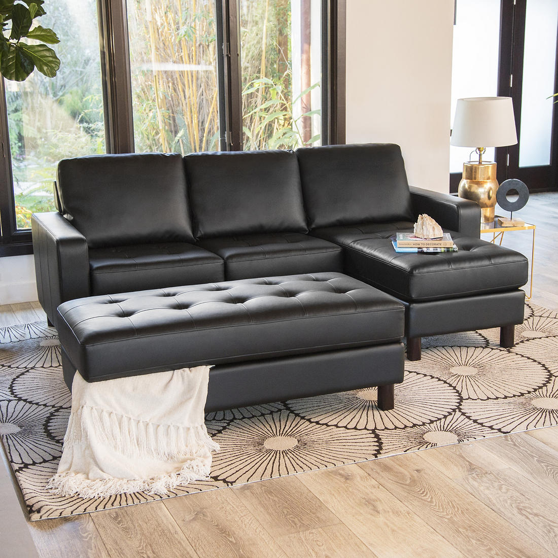 Pleasing Abbyson Living Emelia Reversible Sectional And Ottoman Black Ncnpc Chair Design For Home Ncnpcorg