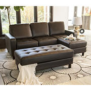 Abbyson Living Emelia Reversible Sectional and Ottoman - Brown