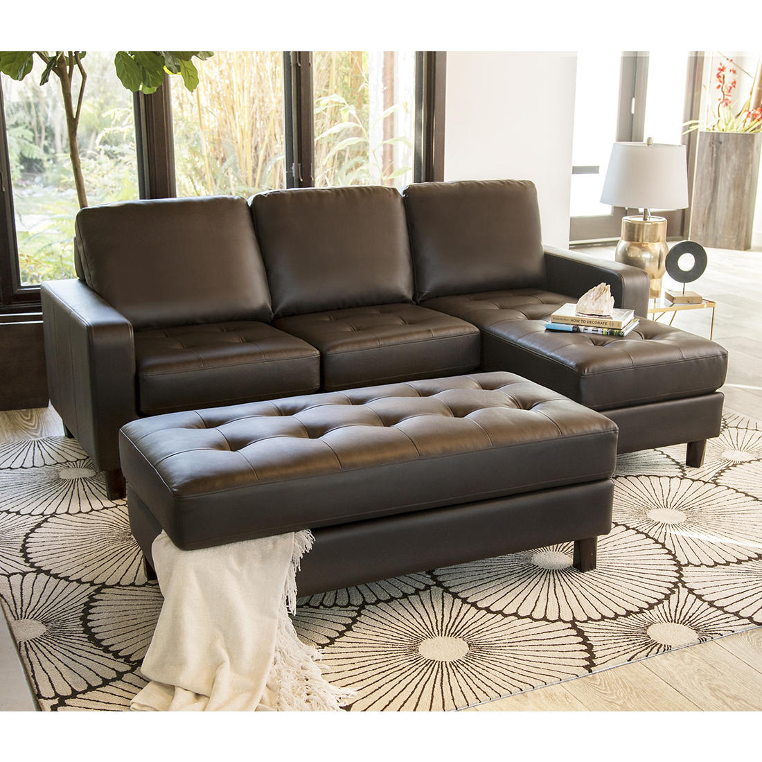 Awesome Abbyson Living Emelia Reversible Sectional And Ottoman Brown Ncnpc Chair Design For Home Ncnpcorg