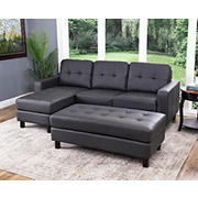 Abbyson Living Taylor Reversible Sectional and Ottoman - Charcoal Gray