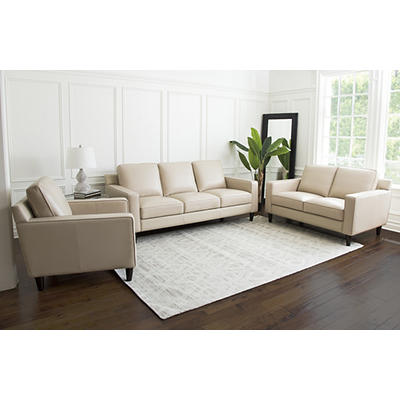 Abbyson Living Sidney 3-Pc. Top-Grain Leather Set - Cream