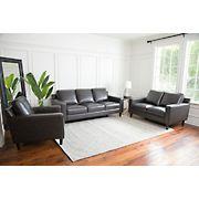 Abbyson Living Sidney 3-Pc. Top-Grain Leather Set - Gray