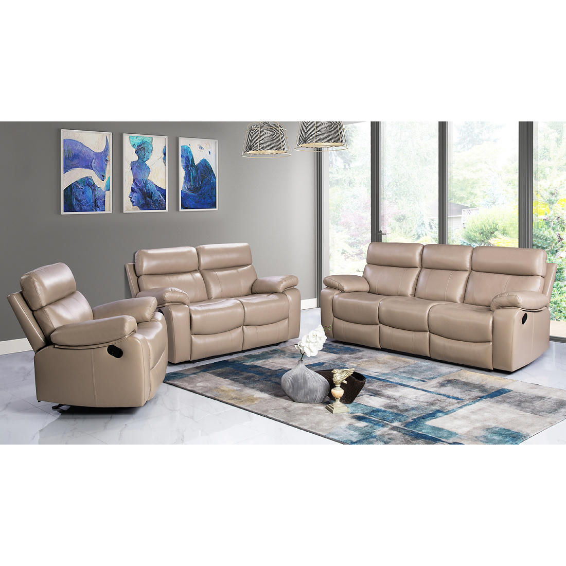 Strange Abbyson Living Franklin 3 Pc Reclining Leather Set Beige Gmtry Best Dining Table And Chair Ideas Images Gmtryco
