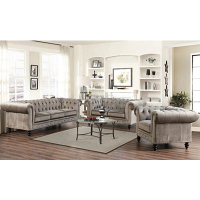 Abbyson Living Camilla Grand Chesterfield 3-Pc. Set - Gray