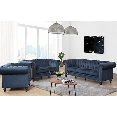 Abbyson Living Camilla Grand Chesterfield 3-Pc. Set - Navy Blue