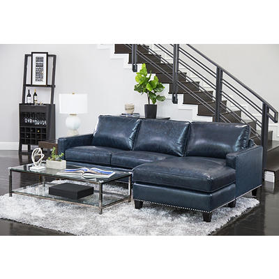 Abbyson Living Lisbon Top-Grain Leather Sectional - Blue