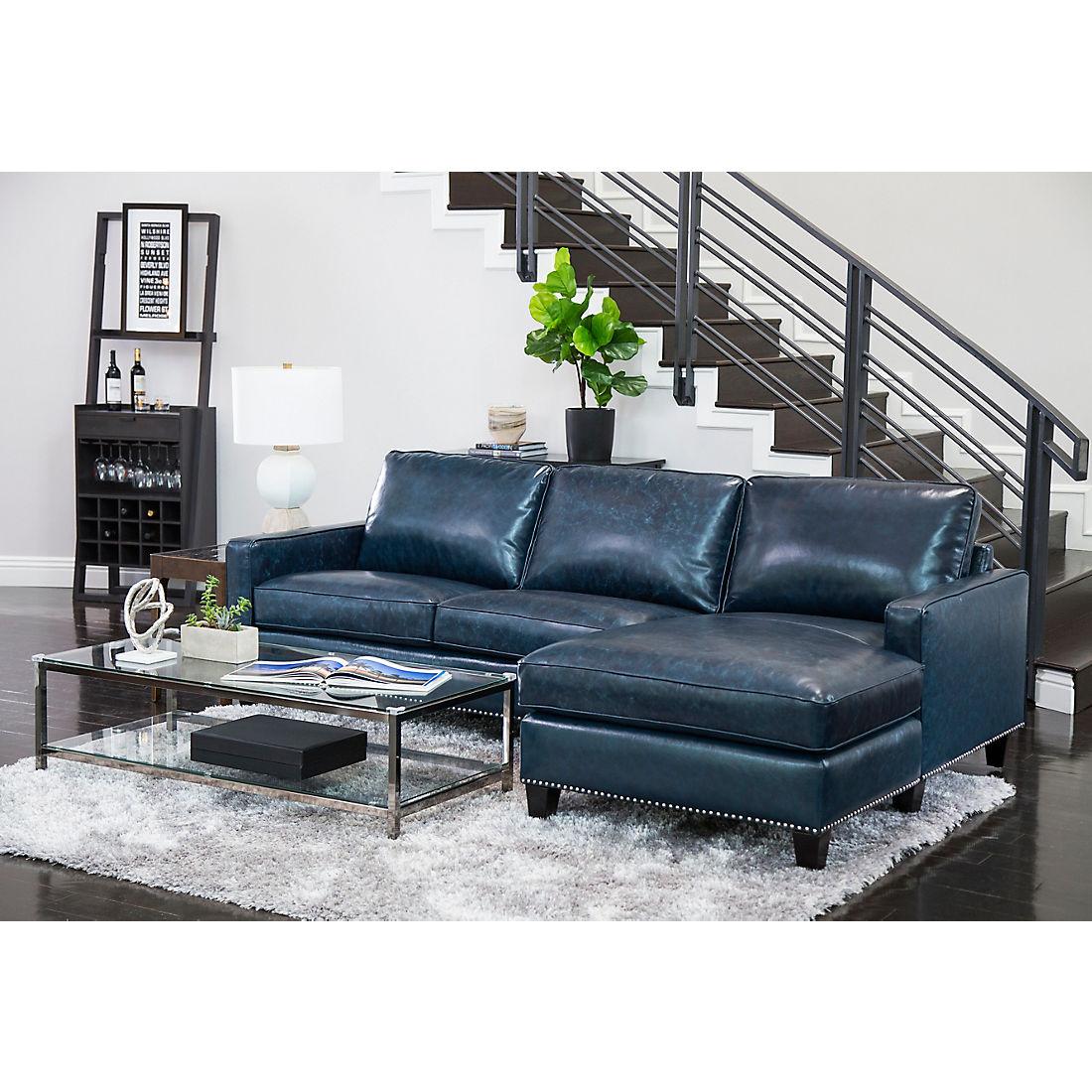 Pleasing Abbyson Living Lisbon Top Grain Leather Sectional Blue Alphanode Cool Chair Designs And Ideas Alphanodeonline