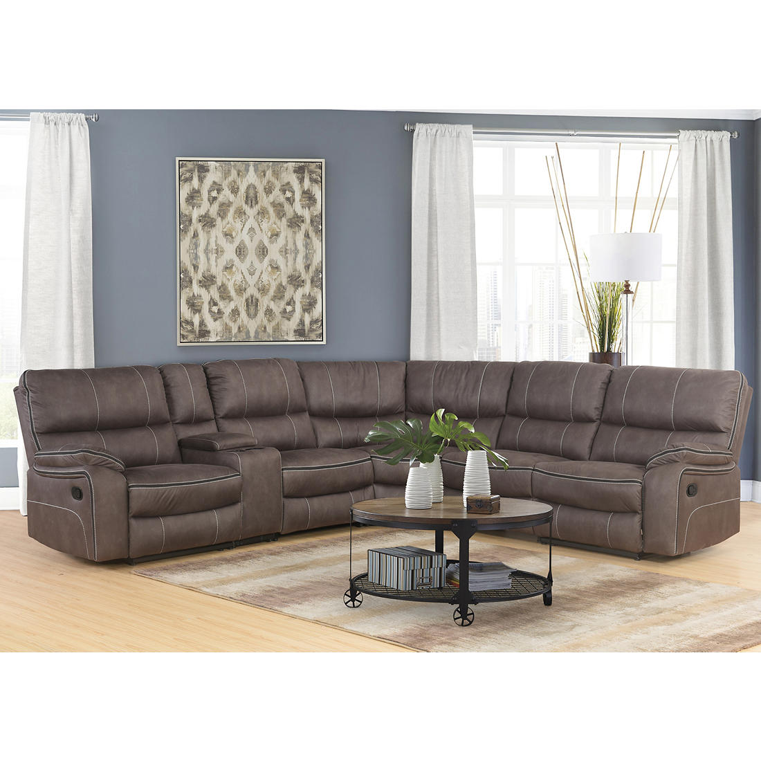 Superieur Abbyson Living Dayton 6 Pc. Fabric Reclining Sectional   Gray