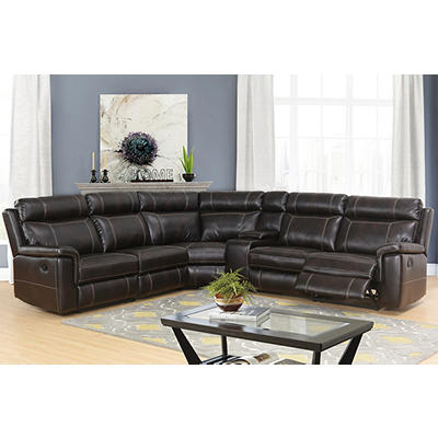 Abbyson Living Dallas 6-Pc. Reclining Sectional - Brown