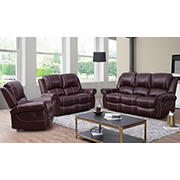 Abbyson Living Austen 3-Pc. Leather Reclining Set - Burgundy